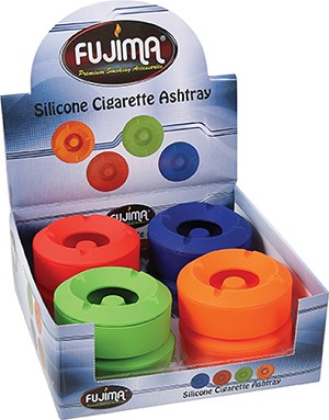 Fujima Silicone Ashtray W/ Stash 8ct Assorted Colors